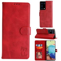 Embossing Happy Cat Leather Wallet Case for Samsung Galaxy S21 Plus - Red