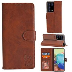Embossing Happy Cat Leather Wallet Case for Samsung Galaxy S21 Plus - Brown