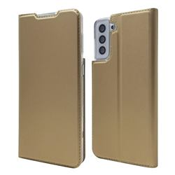 Ultra Slim Card Magnetic Automatic Suction Leather Wallet Case for Samsung Galaxy S21 Plus - Champagne
