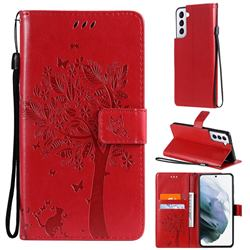 Embossing Butterfly Tree Leather Wallet Case for Samsung Galaxy S21 Plus - Red