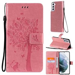 Embossing Butterfly Tree Leather Wallet Case for Samsung Galaxy S21 Plus - Pink
