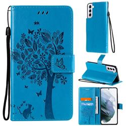 Embossing Butterfly Tree Leather Wallet Case for Samsung Galaxy S21 Plus - Blue
