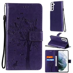 Embossing Butterfly Tree Leather Wallet Case for Samsung Galaxy S21 Plus - Purple