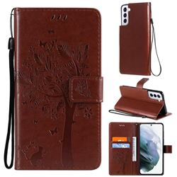 Embossing Butterfly Tree Leather Wallet Case for Samsung Galaxy S21 Plus - Coffee