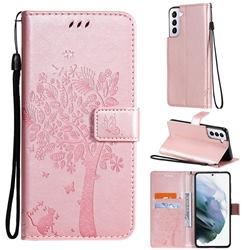 Embossing Butterfly Tree Leather Wallet Case for Samsung Galaxy S21 Plus - Rose Pink