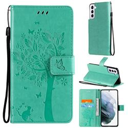 Embossing Butterfly Tree Leather Wallet Case for Samsung Galaxy S21 Plus - Cyan