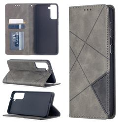 Prismatic Slim Magnetic Sucking Stitching Wallet Flip Cover for Samsung Galaxy S21 Plus - Gray