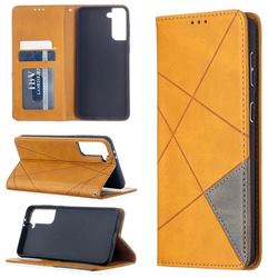 Prismatic Slim Magnetic Sucking Stitching Wallet Flip Cover for Samsung Galaxy S21 Plus - Yellow