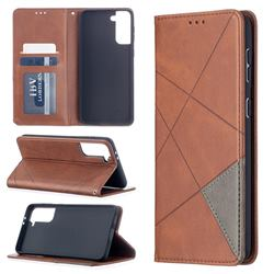Prismatic Slim Magnetic Sucking Stitching Wallet Flip Cover for Samsung Galaxy S21 Plus - Brown
