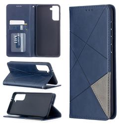Prismatic Slim Magnetic Sucking Stitching Wallet Flip Cover for Samsung Galaxy S21 Plus - Blue