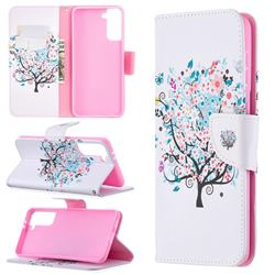 Colorful Tree Leather Wallet Case for Samsung Galaxy S21 Plus