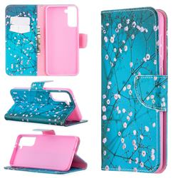 Blue Plum Leather Wallet Case for Samsung Galaxy S21 Plus