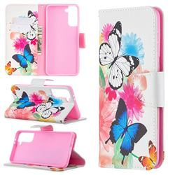 Vivid Flying Butterflies Leather Wallet Case for Samsung Galaxy S21 Plus