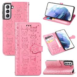 Embossing Dog Paw Kitten and Puppy Leather Wallet Case for Samsung Galaxy S21 Plus - Pink