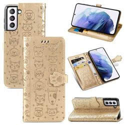 Embossing Dog Paw Kitten and Puppy Leather Wallet Case for Samsung Galaxy S21 Plus - Champagne Gold