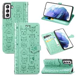Embossing Dog Paw Kitten and Puppy Leather Wallet Case for Samsung Galaxy S21 Plus - Green