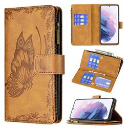 Binfen Color Imprint Vivid Butterfly Buckle Zipper Multi-function Leather Phone Wallet for Samsung Galaxy S21 Plus - Brown