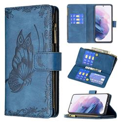 Binfen Color Imprint Vivid Butterfly Buckle Zipper Multi-function Leather Phone Wallet for Samsung Galaxy S21 Plus - Blue