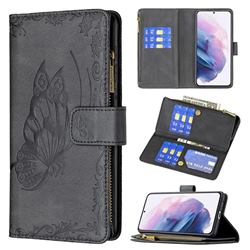 Binfen Color Imprint Vivid Butterfly Buckle Zipper Multi-function Leather Phone Wallet for Samsung Galaxy S21 Plus - Black