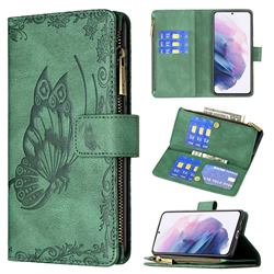 Binfen Color Imprint Vivid Butterfly Buckle Zipper Multi-function Leather Phone Wallet for Samsung Galaxy S21 Plus - Green