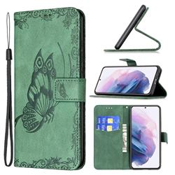 Binfen Color Imprint Vivid Butterfly Leather Wallet Case for Samsung Galaxy S21 Plus - Green