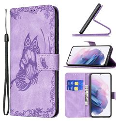 Binfen Color Imprint Vivid Butterfly Leather Wallet Case for Samsung Galaxy S21 Plus - Purple