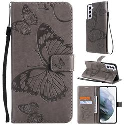Embossing 3D Butterfly Leather Wallet Case for Samsung Galaxy S21 Plus - Gray