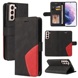 Luxury Two-color Stitching Leather Wallet Case Cover for Samsung Galaxy S21 Plus - Black