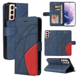Luxury Two-color Stitching Leather Wallet Case Cover for Samsung Galaxy S21 Plus - Blue