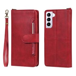 Retro Multi-functional Detachable Leather Wallet Phone Case for Samsung Galaxy S21 Plus - Red