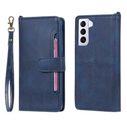 Retro Multi-functional Detachable Leather Wallet Phone Case for Samsung Galaxy S21 Plus - Blue