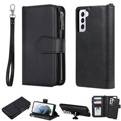 Retro Luxury Multifunction Zipper Leather Phone Wallet for Samsung Galaxy S21 Plus - Black