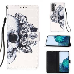 Skull Flower 3D Painted Leather Wallet Case for Samsung Galaxy S21 Plus