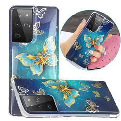 Golden Butterfly Painted Galvanized Electroplating Soft Phone Case Cover for Samsung Galaxy S21 Ultra / S30 Ultra