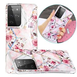 Rose Flower Painted Galvanized Electroplating Soft Phone Case Cover for Samsung Galaxy S21 Ultra / S30 Ultra