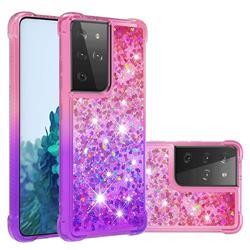 Rainbow Gradient Liquid Glitter Quicksand Sequins Phone Case for Samsung Galaxy S21 Ultra - Pink Purple
