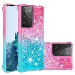 Rainbow Gradient Liquid Glitter Quicksand Sequins Phone Case for Samsung Galaxy S21 Ultra - Pink Blue