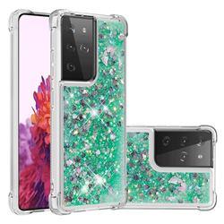 Dynamic Liquid Glitter Sand Quicksand TPU Case for Samsung Galaxy S21 Ultra - Green Love Heart