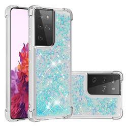 Dynamic Liquid Glitter Sand Quicksand TPU Case for Samsung Galaxy S21 Ultra - Silver Blue Star