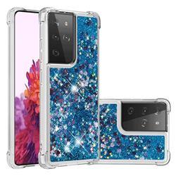 Dynamic Liquid Glitter Sand Quicksand TPU Case for Samsung Galaxy S21 Ultra - Blue Love Heart