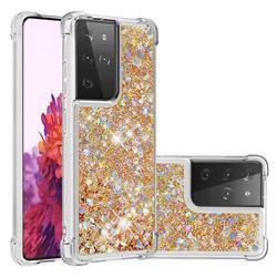 Dynamic Liquid Glitter Sand Quicksand TPU Case for Samsung Galaxy S21 Ultra - Rose Gold Love Heart