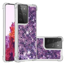 Dynamic Liquid Glitter Sand Quicksand Star TPU Case for Samsung Galaxy S21 Ultra - Purple