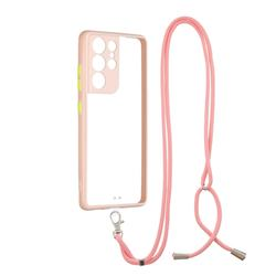 Necklace Cross-body Lanyard Strap Cord Phone Case Cover for Samsung Galaxy S21 Ultra - Pink