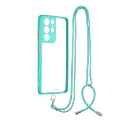 Necklace Cross-body Lanyard Strap Cord Phone Case Cover for Samsung Galaxy S21 Ultra - Blue