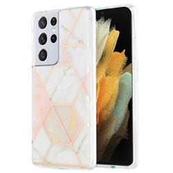 Pink White Marble Pattern Galvanized Electroplating Protective Case Cover for Samsung Galaxy S21 Ultra
