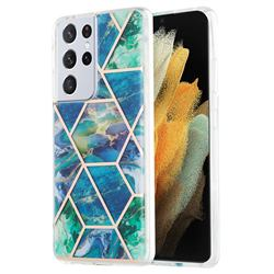 Blue Green Marble Pattern Galvanized Electroplating Protective Case Cover for Samsung Galaxy S21 Ultra
