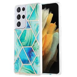 Green Glacier Marble Pattern Galvanized Electroplating Protective Case Cover for Samsung Galaxy S21 Ultra