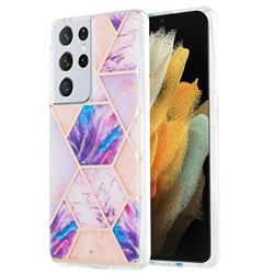 Purple Dream Marble Pattern Galvanized Electroplating Protective Case Cover for Samsung Galaxy S21 Ultra