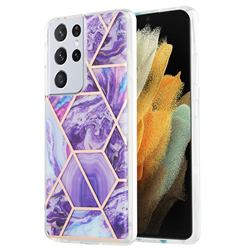 Purple Gagic Marble Pattern Galvanized Electroplating Protective Case Cover for Samsung Galaxy S21 Ultra