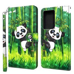 Climbing Bamboo Panda 3D Painted Leather Wallet Case for Samsung Galaxy S30 Ultra / S21 Ultra